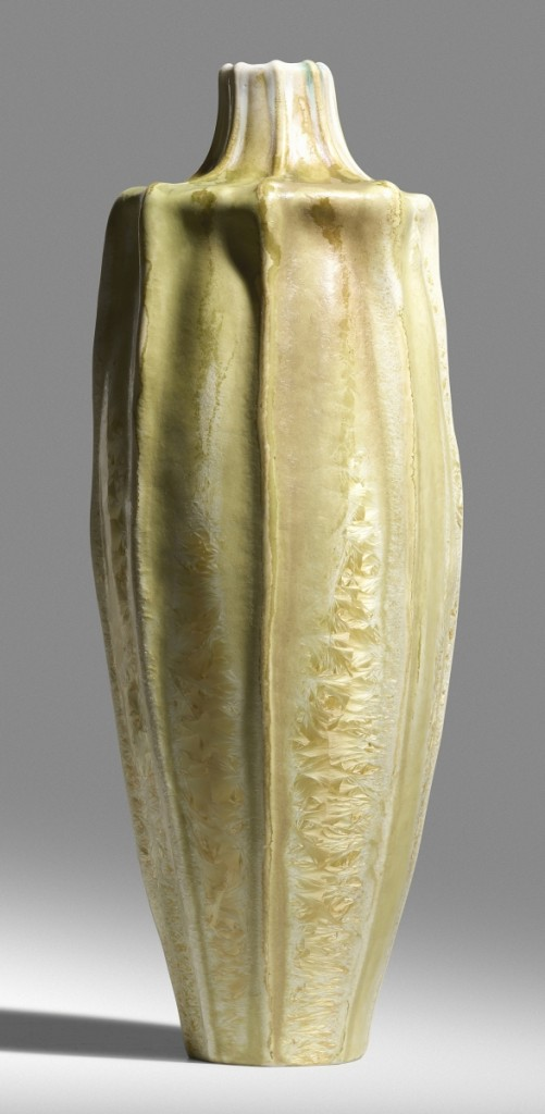A rare tall gourd form by Taxile Doat for University City brought $81,250.