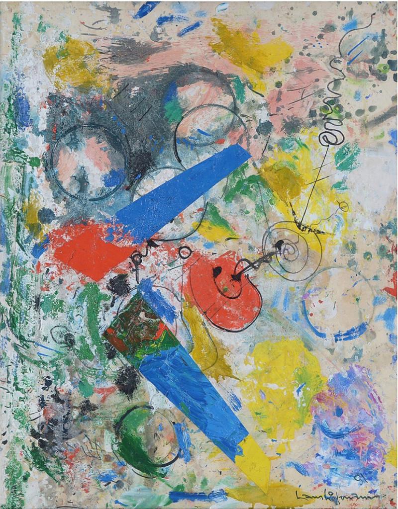 "Hans Hofmann (German/American, 1880-1966) ""Circles,"" 1951, oil on paper, commanded $60,000."