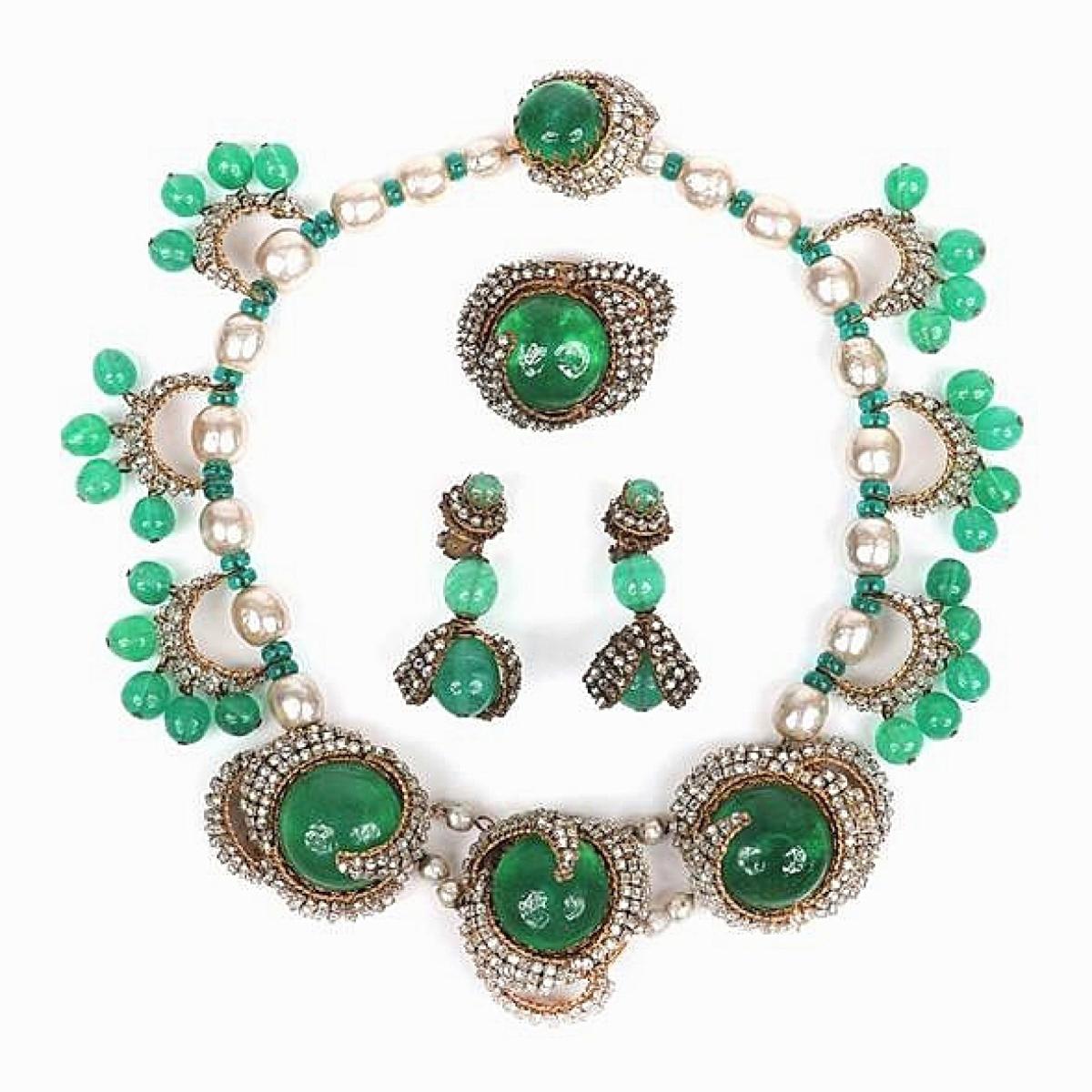 Miriam Haskell emerald green three piece parure set