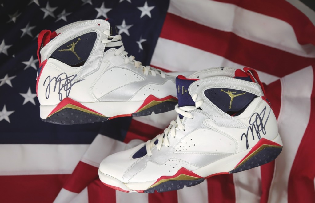 Michael Jordan's 1992 Dream Team signed, game-worn shoes were the sale's top lot, selling for $190,373.