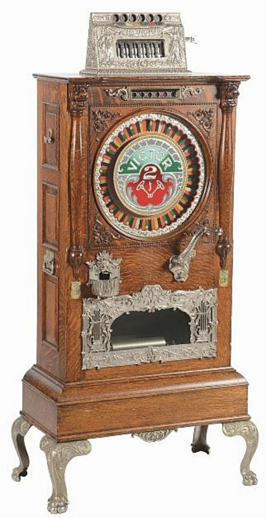 "Tolworthy called this 25¢ ""The Victor"" musical upright slot from the Victor Novelty Works one of the finest original condition slot machines he had ever seen. It sold above estimate at $79,950. He said it looked as if it had just rolled off the factory line."