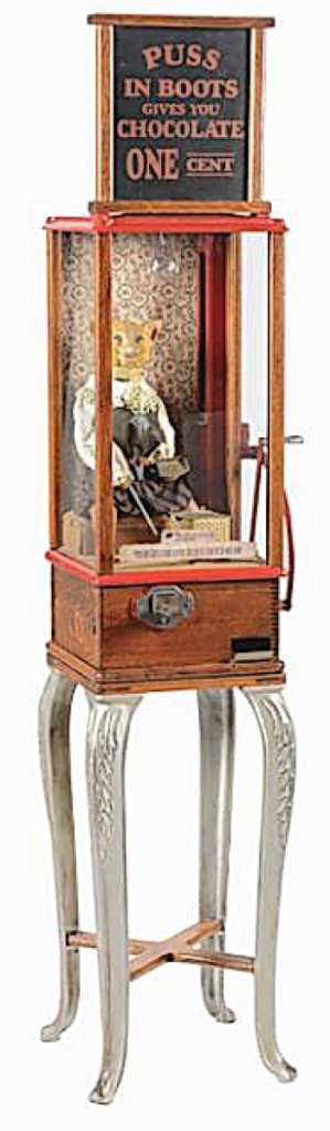 There are only about ten original Puss in Boots fortune tellers by the Roover Brothers extant, according to Tolworthy. The cat is on a clockwork mechanism and dispenses a fortune card. This example sold for $67,650.