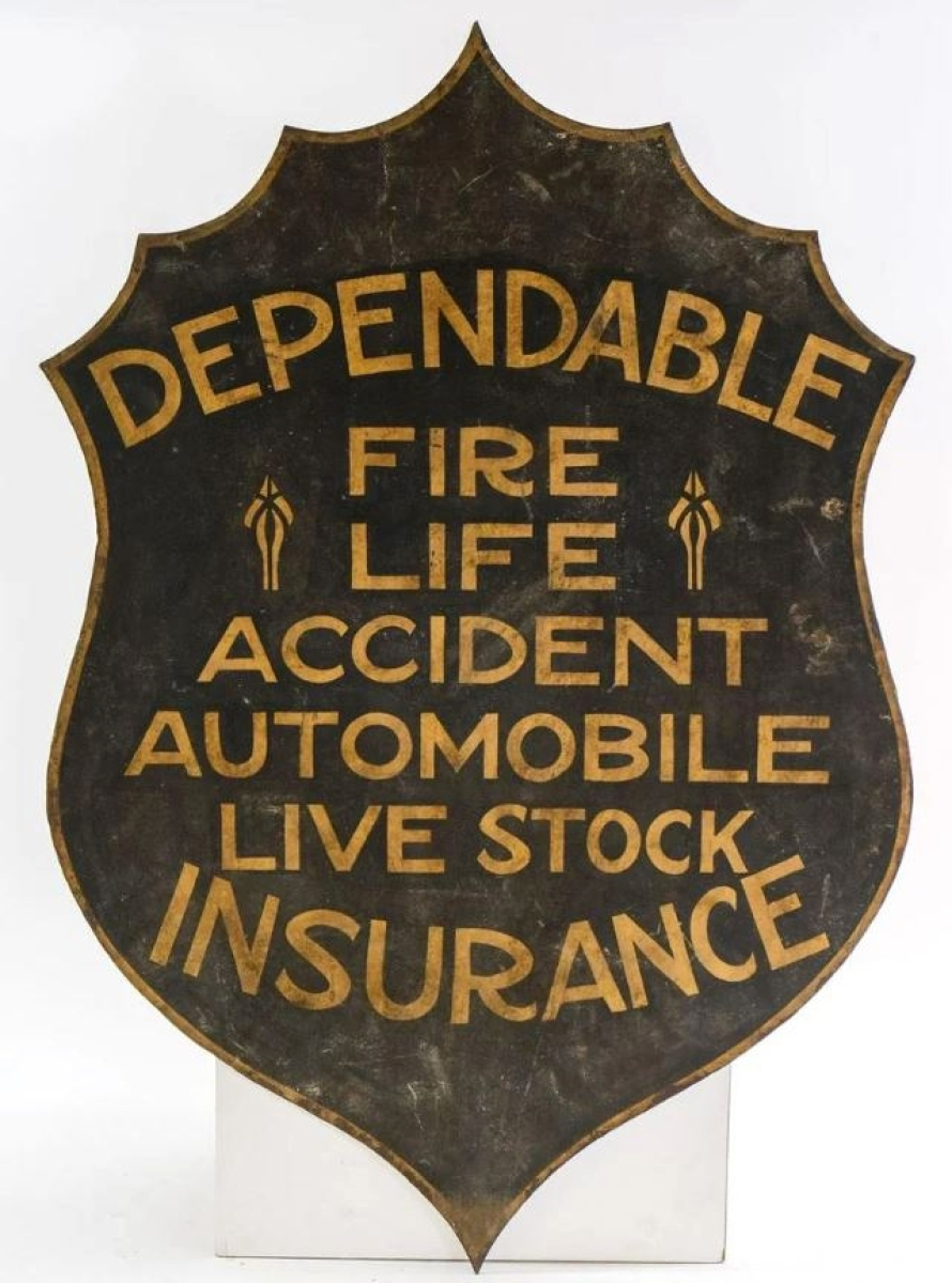 Trade signs were popular in the collection. Among them was this cast iron insurance shield-form sign that sold for $1,538. A similar example sold for $1,230.
