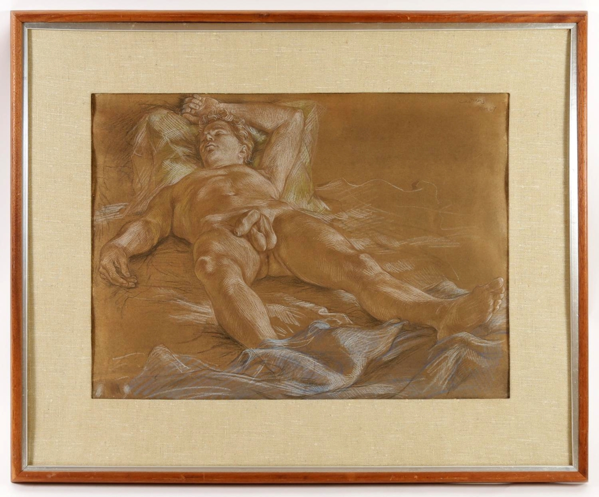 The sale's top lot was this 1968 crayon on paper by Paul Cadmus, which sold for $42,500. The work measures 17 by 23¼ inches sight. There was no shortage of male nudes in the sale, and auctioneer Lark Mason said the artist's style creates a parallel between the masters of the Italian Renaissance and the Twentieth Century.