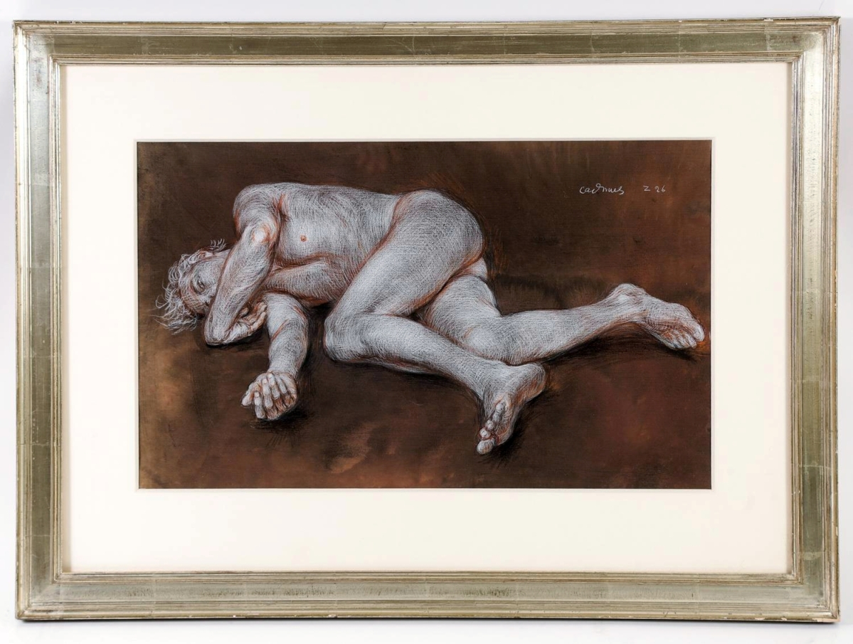 Executed the year before Cadmus passed away, this crayon on hand-toned paper was drawn by the artist in 1998 and sold for $21,250. DC Moore Gallery showed it three times and the Aldrich Museum of Contemporary Art exhibited it in 1999. 14½ by 20-  inches.