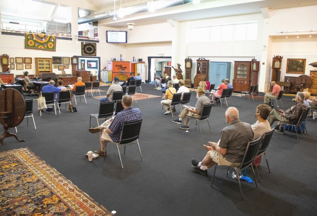 The socially distanced saleroom during the June 20 Americana sale at Pook & Pook. Photo courtesy Pook & Pook, Inc.