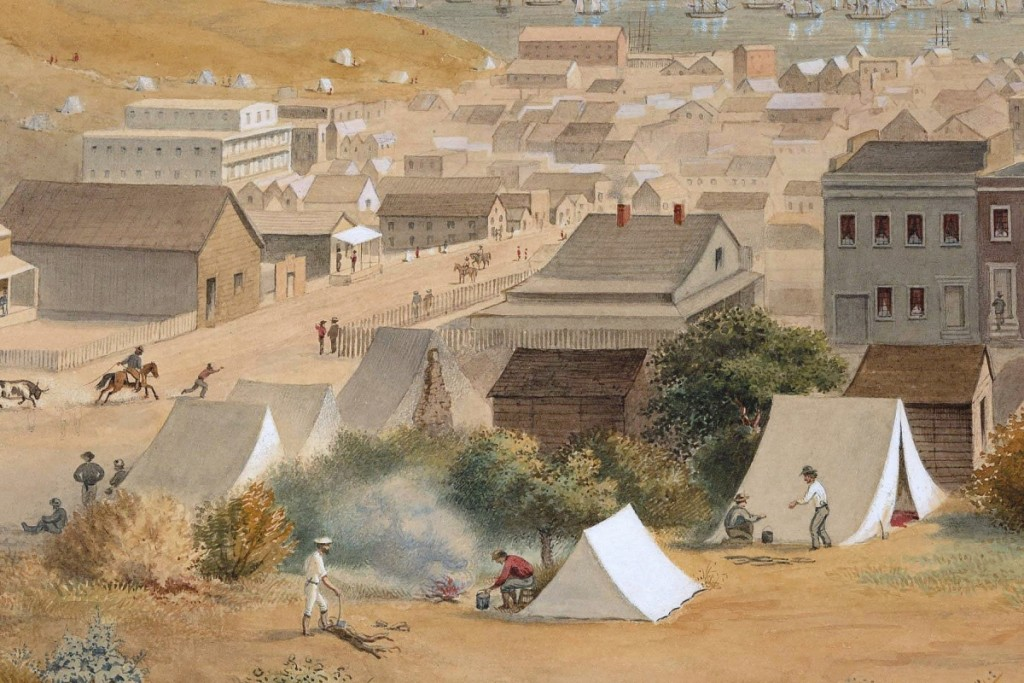 """Bringing $40,950 from a private collector bidding on the phone from the West Coast was George Henry Burgess' (British-American, 1831-1905) """"Historical Panoramic View of San Francisco."""" Painted in watercolor and ink on paper and dated 1868, the work was from the estate collection of Russell and Doris Evitt, Jackson, Calif. A West Coast trade bidder was the underbidder ($15/25,000)."""