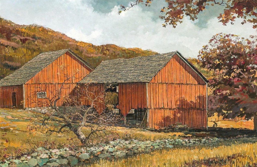 """A regional favorite, Eric Sloane's """"The Red Barn,"""" came from a private Connecticut collection and finished at $20,000, selling to a trade buyer bidding on behalf of a client. It was one of two works by the artist in the sale ($10/15,000)."""