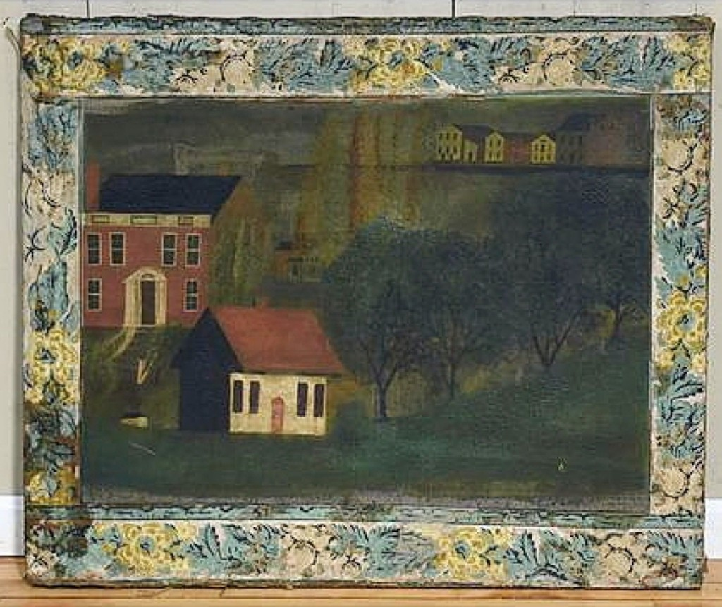 """""""That had a really great folk feel; it reminded me of a fireboard,"""" Smith said of this Nineteenth Century oil on canvas landscape with wallpaper border that a Vermont dealer won for $6,490 ($400/600)."""