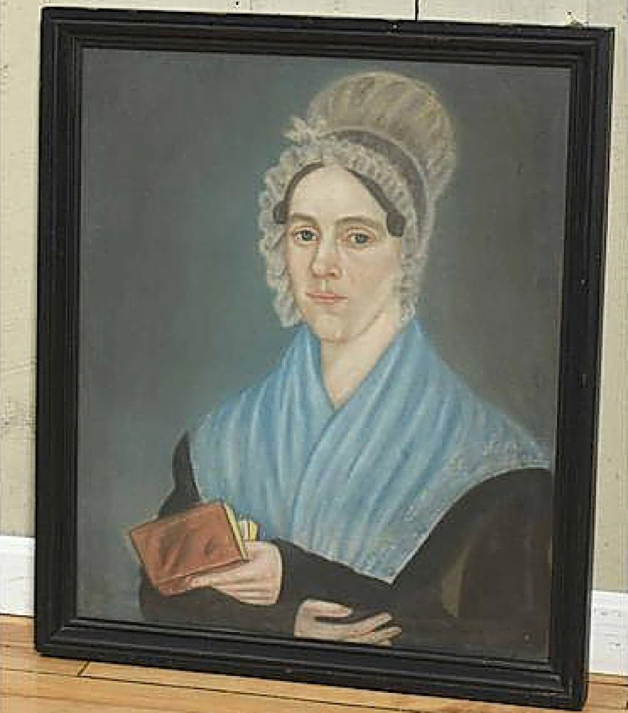 Bidding on the phone, a buyer from the Mid-Atlantic states acquired this early Nineteenth Century pastel portrait of a woman in a bonnet holding a book for $5,605. The work, which measured 28 by 24 inches in the frame, reminded Smith of portraits done by Shute and Ruth Baskin ($400/800).