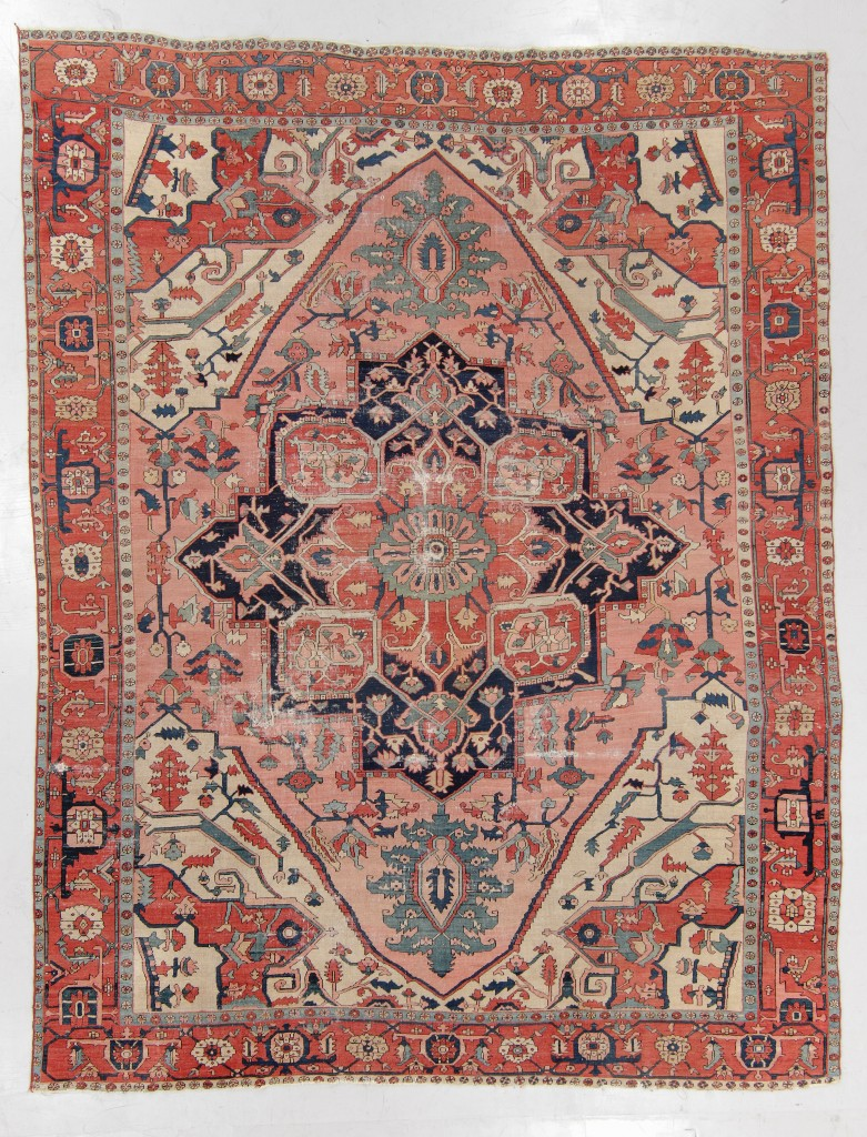 Serapi rug, Persia, late Nineteenth Century, 9 feet 1 inch by 11 feet 9 inches, realized $4,063.