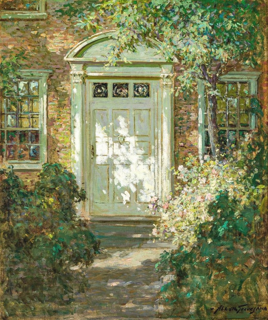 """Germain characterized the light in Abbot Fuller Graves' """"Sunlit Doorway"""" as """"fabulous,"""" which, combined with an unusually large size, proved irresistible to collectors. An absentee bidder prevailed against a private collector, taking the work for $25,000, more than double its low estimate and the highest price in the sale ($12/18,000)."""