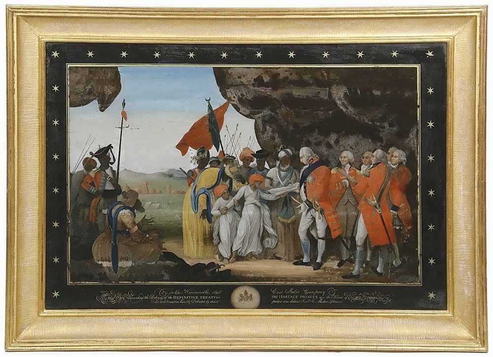 """The top lot in the sale was this British historic reverse-glass oil painting, circa 1793, probably by Mather Brown, which had an integral verre eglomise mat, its original gilt frame and was captioned """"To the Honorable, The East India Company, This Plate representing the Delivery of the Definitive Treaty by the Hostage Princes into the hands of Lord Cornwallis, Is with Permission humbly Dedicated by their faithful and obedient Serv.t Mather Brown,"""" with six-pointed star surround. An online bidder, underbid by another online bidder, bought it for $84,000 ($6/8,000)."""