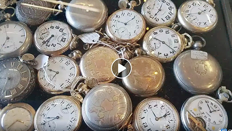 Selections of both pocket watches and wristwatches were available from Binghamton, N.Y., dealer Michael Weinstein Artifacts, who generally shows at Brimfield Auction Acres and Heart-O-The-Mart. —Brimfield LIVE