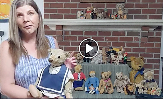 "Julie Rose, the ""Steiff Lady,"" showed her very special Steiff bear from her Orphanage, a ""well-loved"" example, circa 1905-06, sporting an interesting seam running down the middle of its head. —Brimfield LIVE"