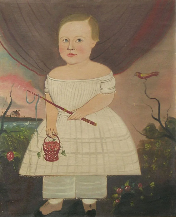 The top lot of the sale was this Prior-Hamblen school portrait that sold for $101,750. It sold to Rockport, Maine, dealer Scott Fraser, who called it a masterpiece. He believes it may be by George Hartwell, and if so, it would be an auction record for the artist. The work came out of an estate in Rhode Island, where it had passed down through four generations since the Nineteenth Century. Fraser believes the initials on the boy's whip, C.F.C., may stand for Charles Franklin Carter, born 1840 in Leominister/Worcester, Mass. The painting was in original and immaculate condition, without any inpainting at all.