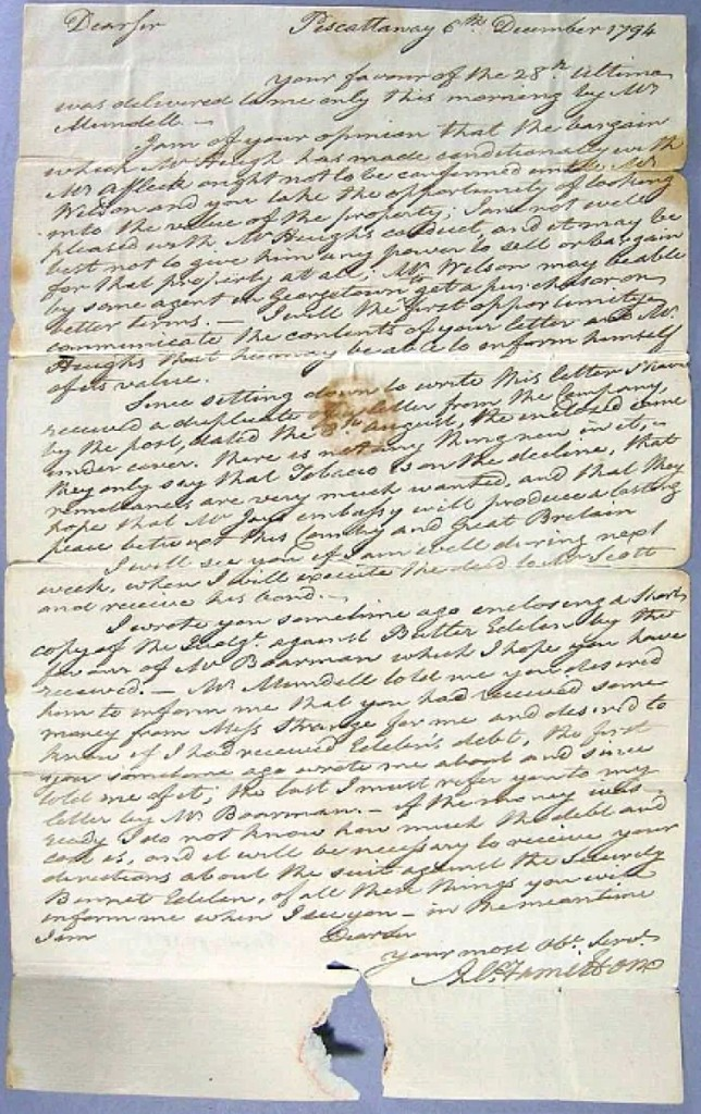 """Early documents were led by an Alexander Hamilton autographed letter that quadrupled estimate to bring $4,080. It was dated December 6, 1794, and describes a series of land transactions with other gentlemen involved, along with the comment, """"hope Mr. Jays embassy will produce a lasting peace between this Country and Great Britain."""""""