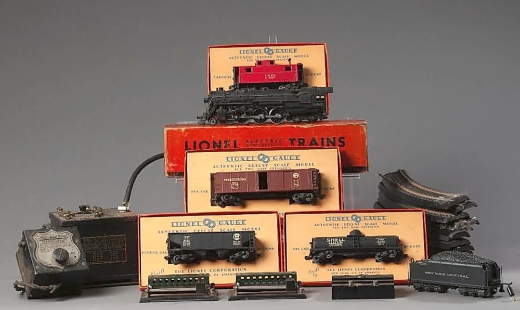 Pulling in $1,722 was this Lionel train set, which included a 5342 Hudson Locomotive, 044 box car in original box, 046 hopper car in original box, 0045 oil car in original box, coal car, 12 sections of track, a Lionel K multivolt transformer and an American Flyer 1249 transformer.