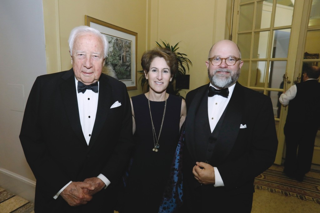 """Chief executive officer Brenton Simons with bestselling authors David McCullough and Stacy Schiff at the American Ancestors gala in 2018, when Simons presented McCullough with his """"literary family tree."""""""