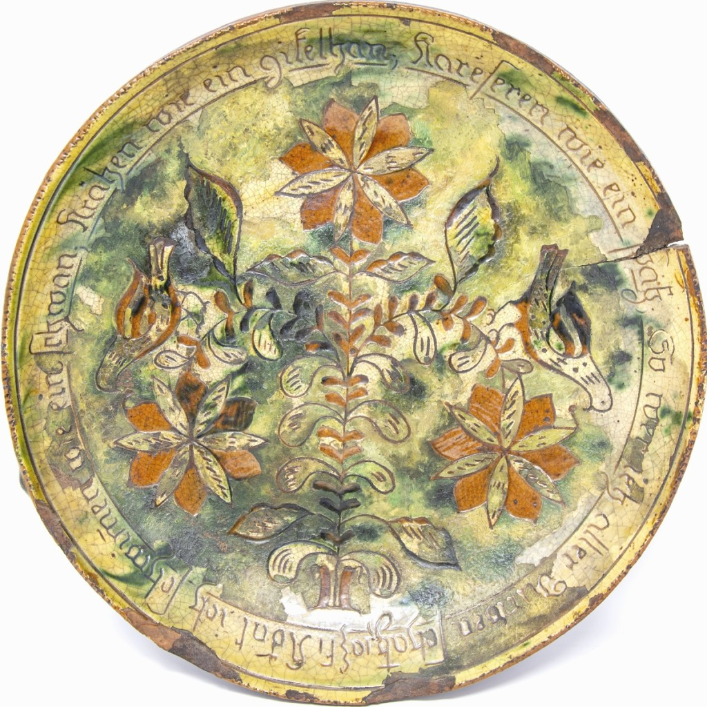 Sgraffito plate, Samuel Troxel (1803-1870), Upper Hanover Township, Montgomery County, Pennsylvania. Collection of Bradley and Deanne Hamilton.