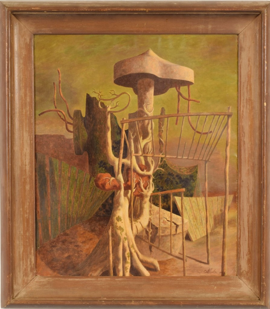 "A trade buyer paid the sale's top price, prevailing against an online bidder and other trade buyers, taking John Atherton's ""Magical Surreal Landscape,"" for $13,420. The work, which had been painted in 1946 and measured 30 by 25 inches, had been estimated at $7/9,000. Downer said it was one of a few surrealist paintings done by the artist."