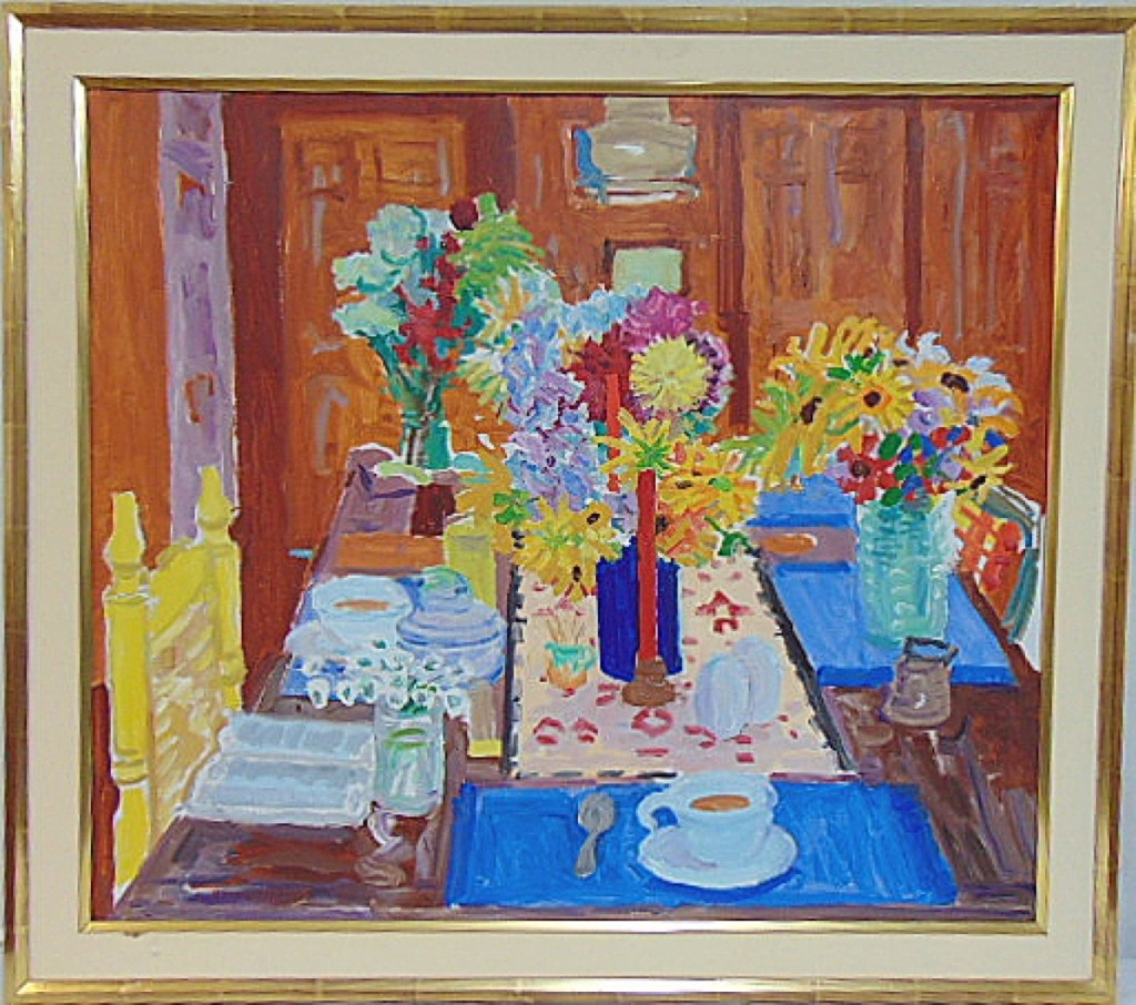 Oil,  Red Candle & Four Bouquets,  by Nell Blaine, 1978