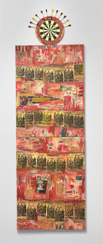 """Jaune Quick-to-See Smith, """"I See Red: Target,"""" 1992, mixed media on canvas, overall (three parts): 134 by 42 inches, National Gallery of Art, Washington, Purchased with funds from Emily and Mitchell Rales."""