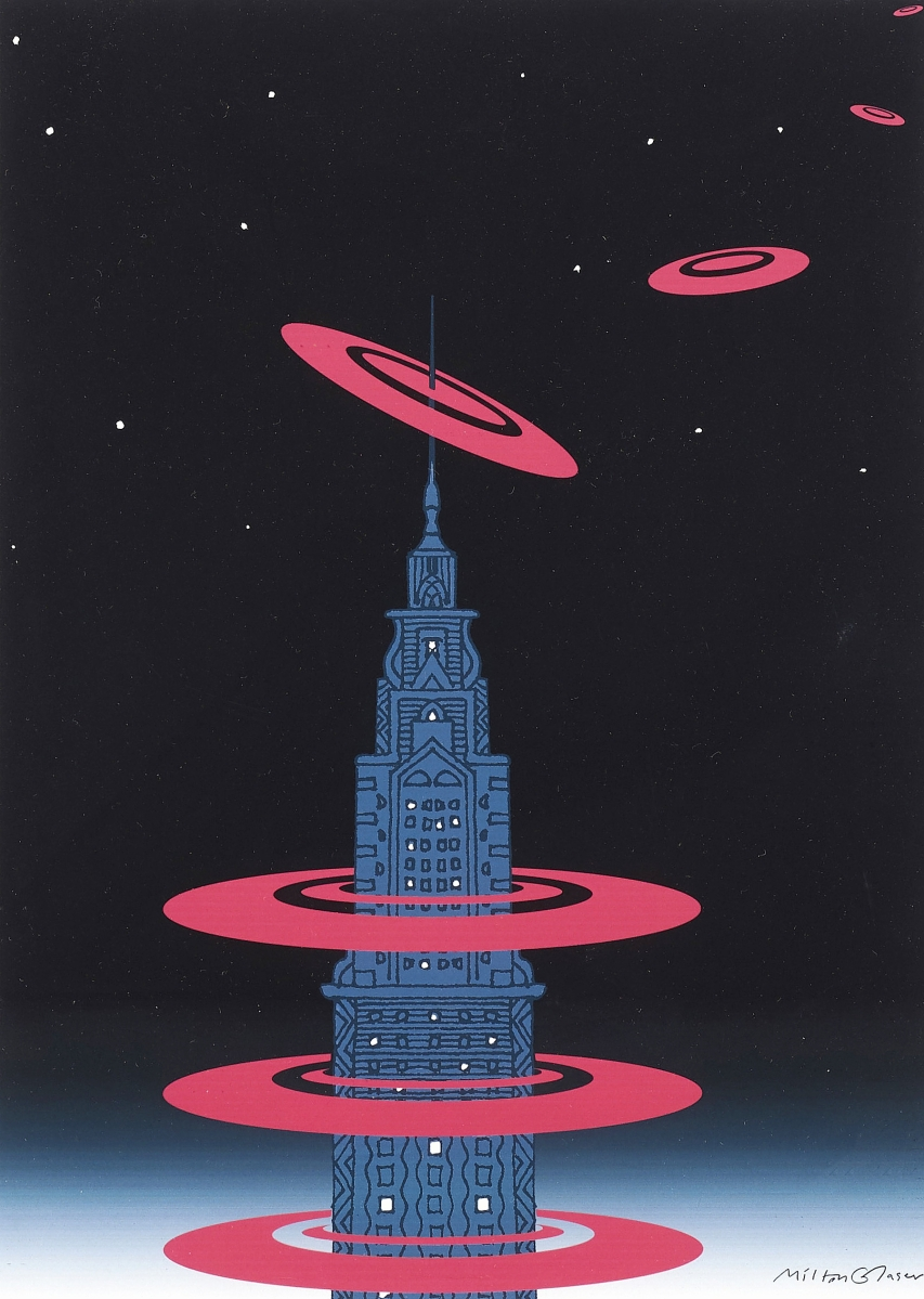 """Tying for the sale's top lot was this original work for New York magazine titled """"New York is About New York,"""" which sold for $8,750. It was done in 1976. Glaser returned to images of New York skyscrapers throughout his career."""
