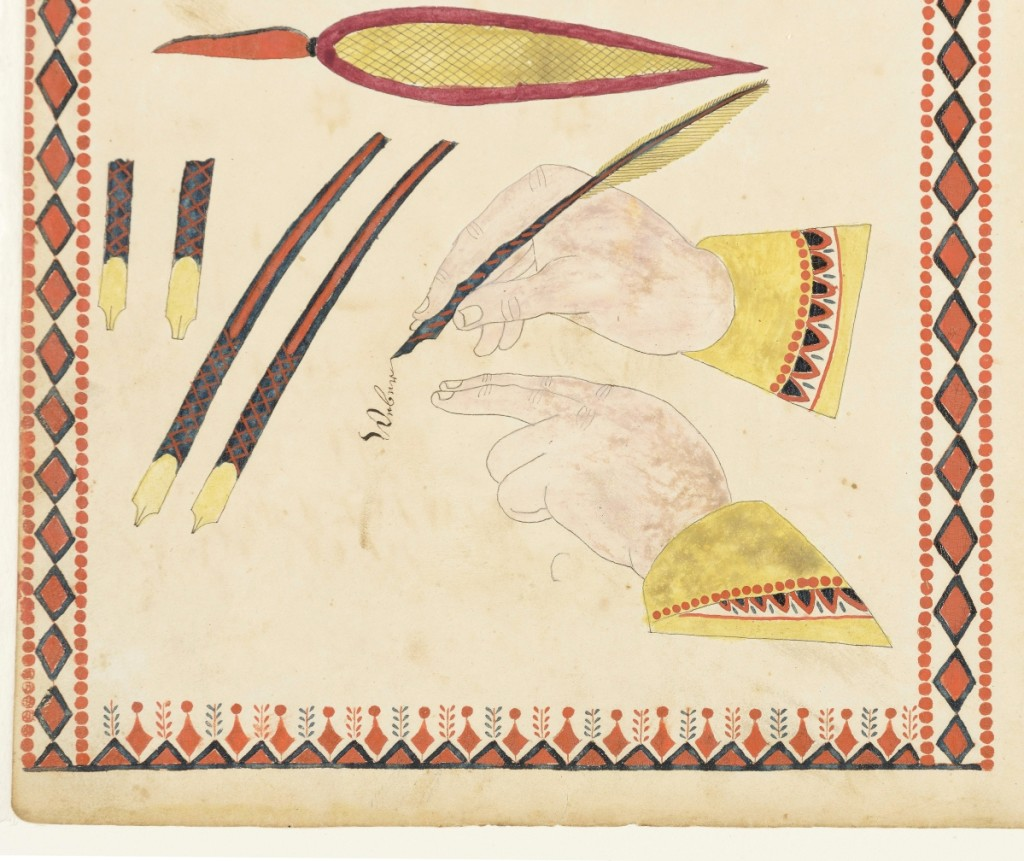 The manuscript page that launched Ames' research. Johannes Bard (1797-1861), fraktur writing sample, Union Township, Adams County, Pennsylvania, 1819-1821. 7¾ inches high by 8½ inches wide. 2011.0028.022. Gift of Nick and Jo Wilson. Courtesy of the Winterthur Museum, Winterthur, Del.