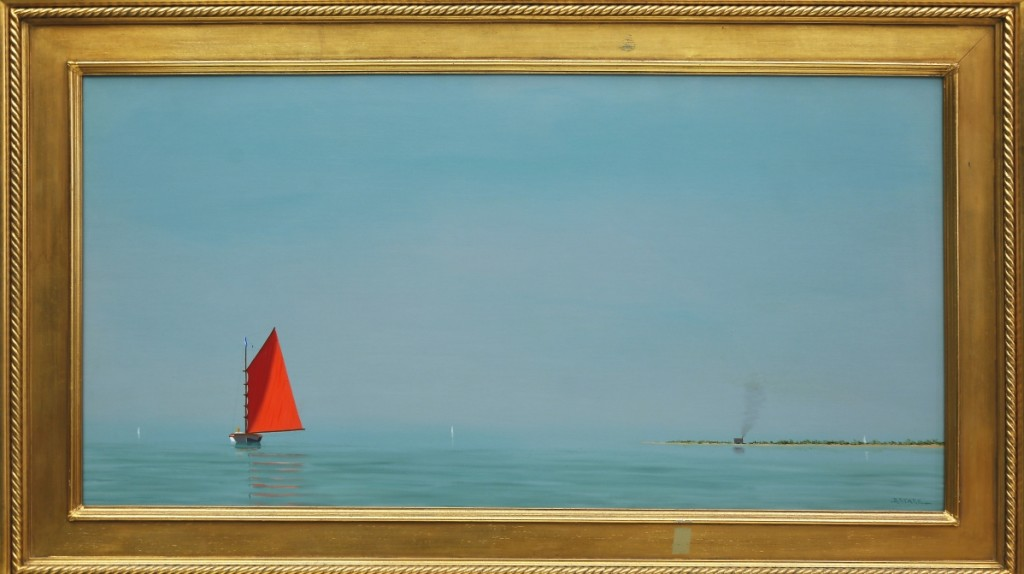 """Nantucket's own Robert Stark Jr (1933-2014) was represented in the sale by this luminist oil on canvas, """"Off Coatue – Nantucket,"""" which went out at $33,020."""