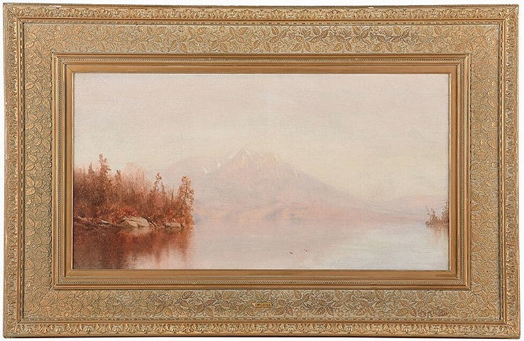 An institution in the United States, bidding on the phone, took this luminous depiction of upstate New York's Lake Placid by Jervis McEntee (New York, 1828-1891) to $46,740, well north of its $8/12,000 estimate.