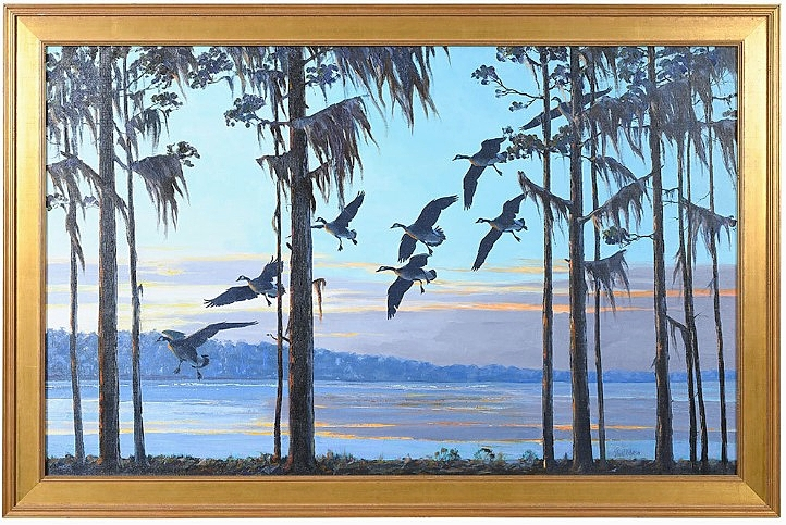 """Proceeds from the sale of Richard Evett Bishop's """"Geese at Sunset, Honey Lake, Monticello, Florida"""" will go to benefit the Thomasville Center for the Arts. It made $44,280 from a private American collector bidding on the phone ($10/15,000)."""