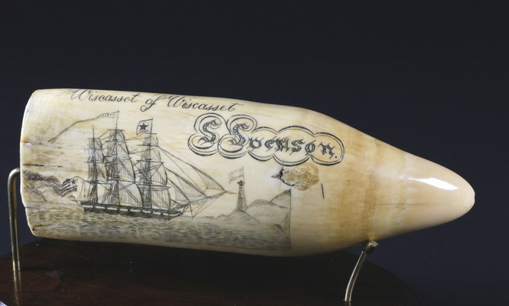 """Topping the sale was a singular sperm whale tooth, """"The Wiscasset of Wiscasset, circa 1836"""" flying the American flag, which sold for $152,500 on day two. According to Osona, it went to a collector in Wiscasset, Maine, and may have brought even more had it not been for COVID-19 preventing an in-gallery sale."""