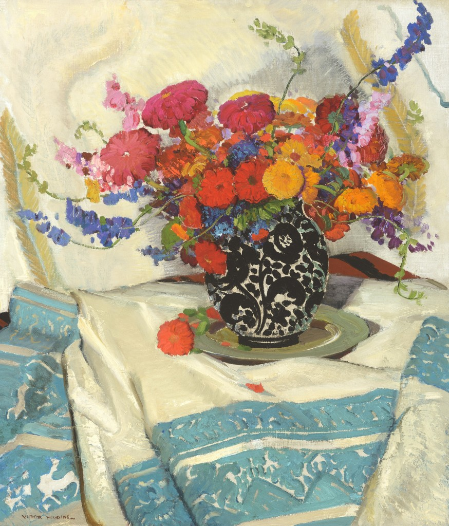 """""""New Mexico Zinnias"""" by Victor Higgins (1884-1949) was the second highest result in the auction, selling for $416,500. The oil on canvas earned another silver medal as the second highest still life from the artist to sell at auction. Coeur d'Alene Art Auction hold's the artist's auciton record at $833,000. Oil on canvas, 30 by 24 inches."""