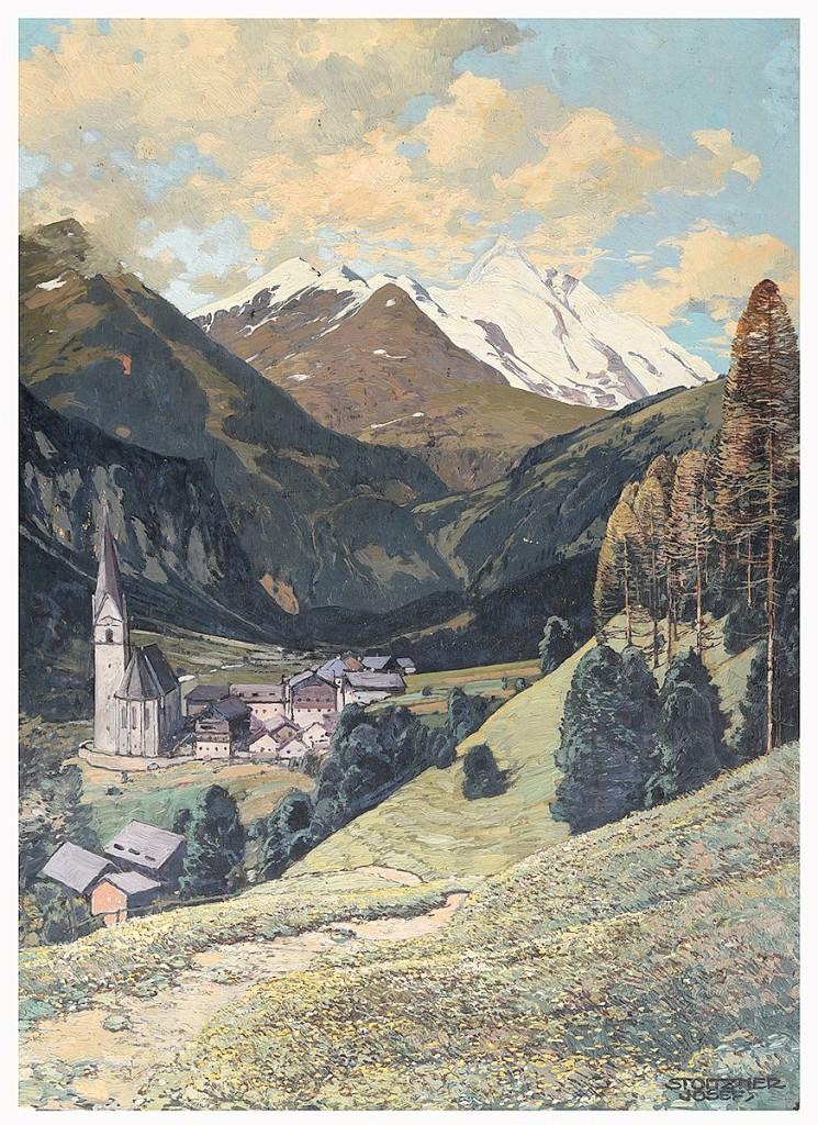 JOSEF STOITZNER (Austrian 1884-1951) 'Heiligenblut auf Großglockner, Austria'  Oil on board