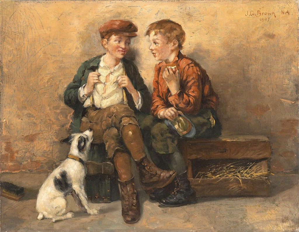 A charming oil on canvas painting of two shoeshine boys with a dog by John George Brown (1831-1913) was bid to $25,000.