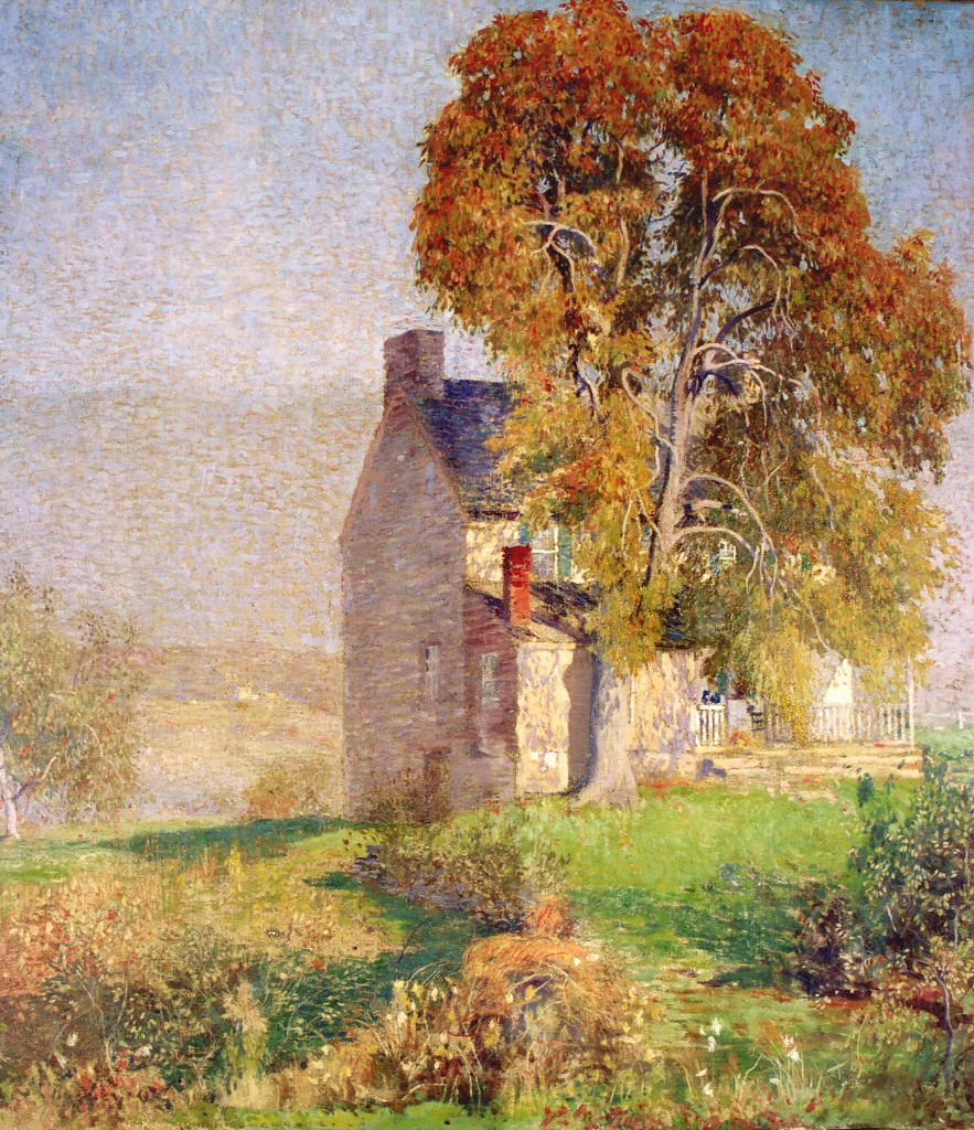 "Daniel Garber presented this painting to the Bucks County Historical Society at one of the Society's meetings, held near the artist's home in Solebury. Although Garber knew nothing of the history of the house featured in his work, a Society member informed him that the Quaker poet John Greenleaf Whittier had summered there between 1838 and 1840. During those years Whittier served as editor of the Pennsylvania Freeman, a leading abolitionist newspaper of the day, headquartered in Philadelphia. ""October"" by Daniel Garber (1880-1958), circa 1918. Oil on canvas. Gift of the artist, 1918."