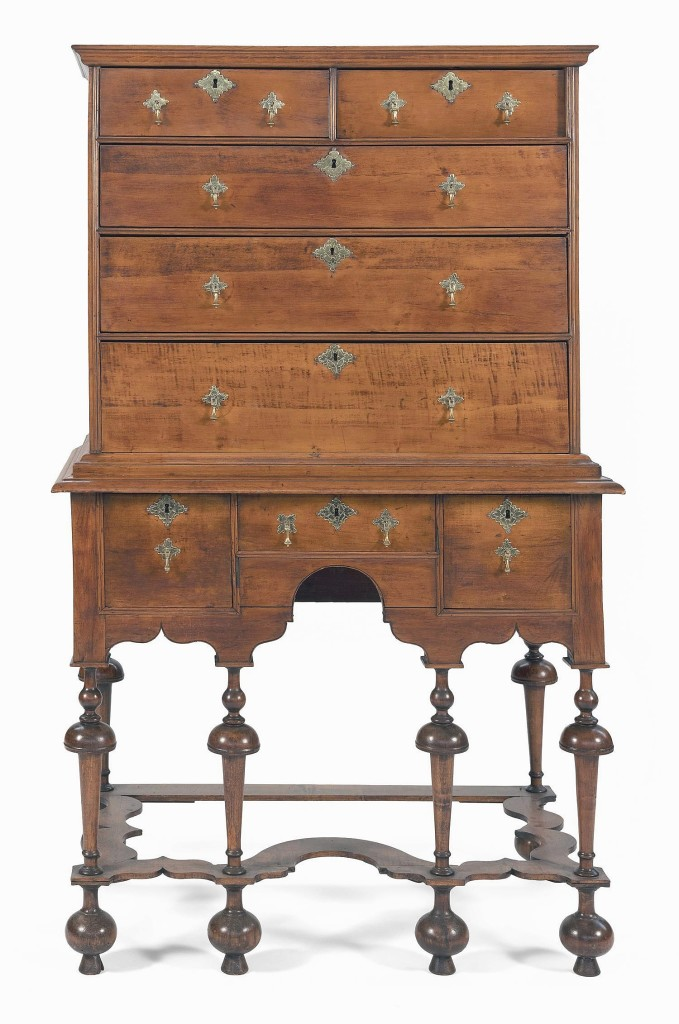 Fetching $31,250 and from the Perkins collection was the Rogers family William and Mary highboy, standing 65¾ inches high. It descended in the William Rogers family of Newport, R.I., until 2010.