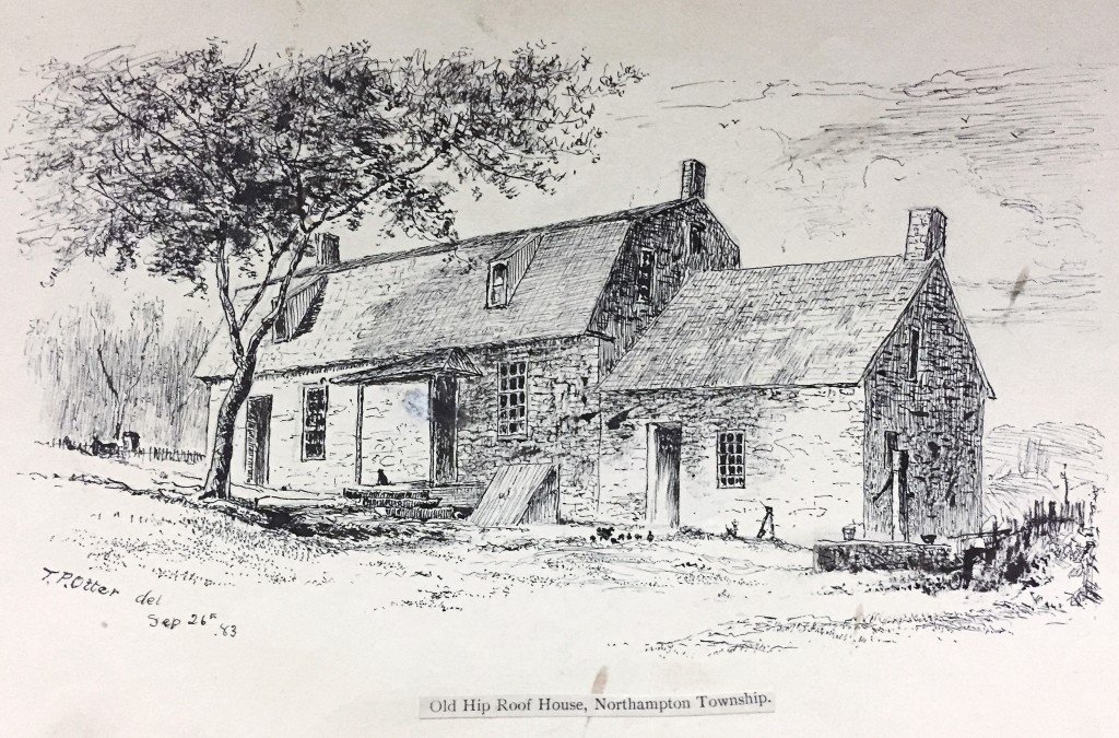 "One of several drawings of historic structures in Bucks County rendered by Otter in the 1880s. The home of a Revolutionary War soldier, the house more properly features a ""gambrel"" rather than a ""hip"" roof. ""The Old Hip-Roof House, Northampton Township"" by Thomas Otter (1832-1890), 1883. Ink on paper. Mercer Library Collection."