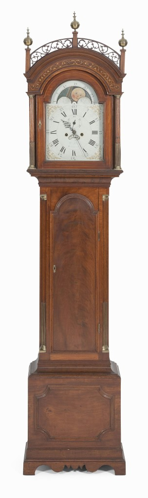 This William Fitz tall case clock, circa 1795, from the New Hampshire collection of Lawrence and Dorothy Perkins was the sale's top lot, selling for $68,750.