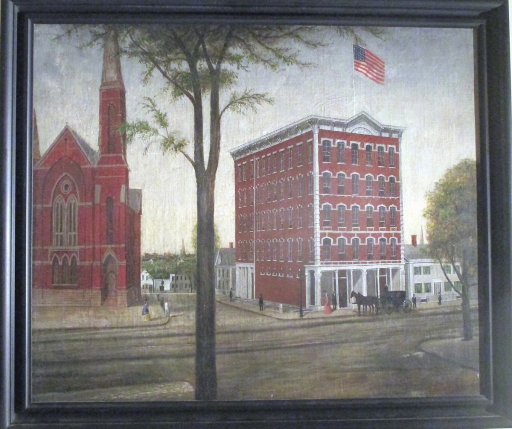 A red sold legend quickly appeared on this J.G. Chandler painting of Fallons Block, purportedly in Worcester, Mass., 24 by 30 inches, which was featured by Judith and James Milne. The painting was signed and dated J.G. Chandler 1873. Joseph Goodhue Chandler was active in Massachusetts and New York, according to the dealer, and is known for itinerant naive portraits, still life and landscapes.