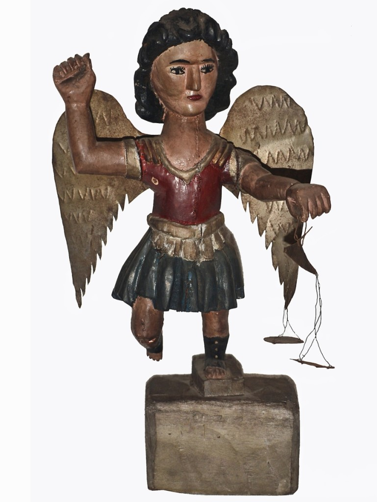 A Nineteenth Century folk carved wood angel with tin wings and scales, 16½ inches tall, that the Village Braider's Bruce Emond has had in his personal collection for a while found a buyer in a Pennsylvania collector, who was able to travel to pick it up in person.