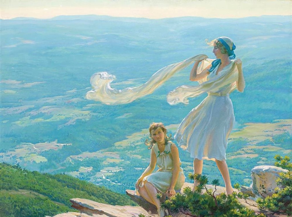"A private buyer in the United States prevailed against competition to take ""Wind on the Cliff"" by Charles Courtney Curran (American, 1861-1942) that blew past its estimate to sell for $100,000 ($70/90,000)."