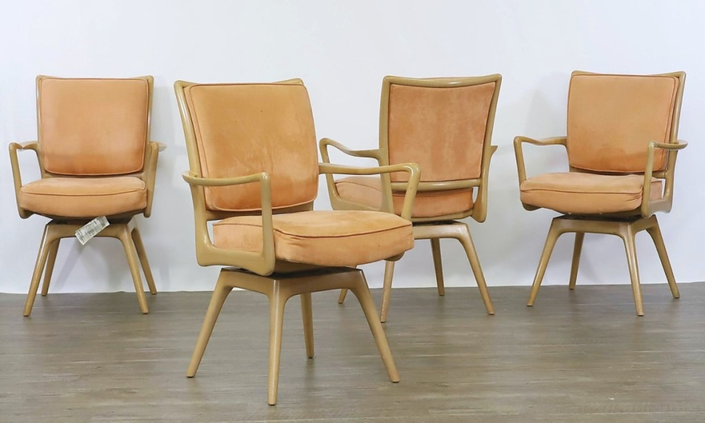 Outside of the De Sede sofa, no designer grossed more than Vladimir Kagan in the sale. Twelve of the designer's swivel armchairs in maple were broken up into three lots and cumulatively brought $7,627.