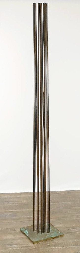 A sonambient work by Val Bertoia was the highest selling sculpture in the sale at $5,228. With beryllium copper rods, the work rose 80 inches high.