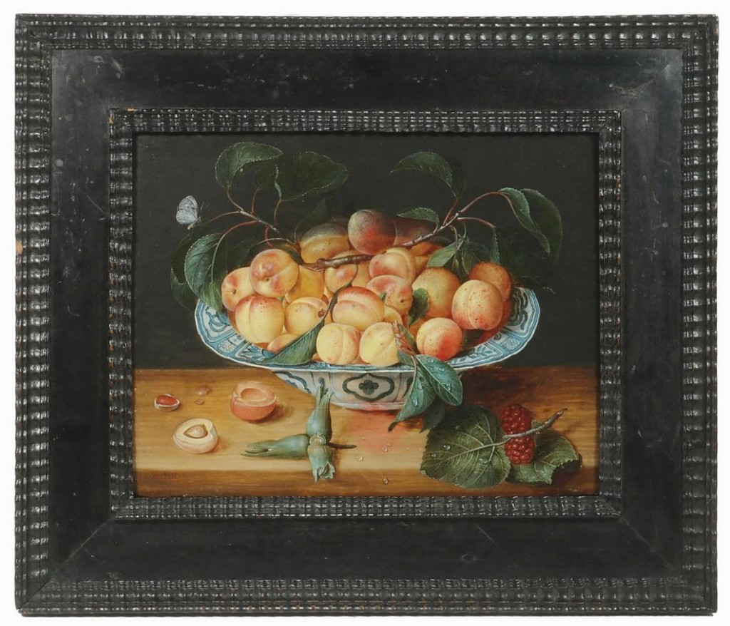 European paintings included this Dutch Old Master still life on panel, dating to the late Seventeenth or early Eighteenth Centuries. It was initialed JHD-M in the lower left corner, and it sold well over the estimate for $60,000.