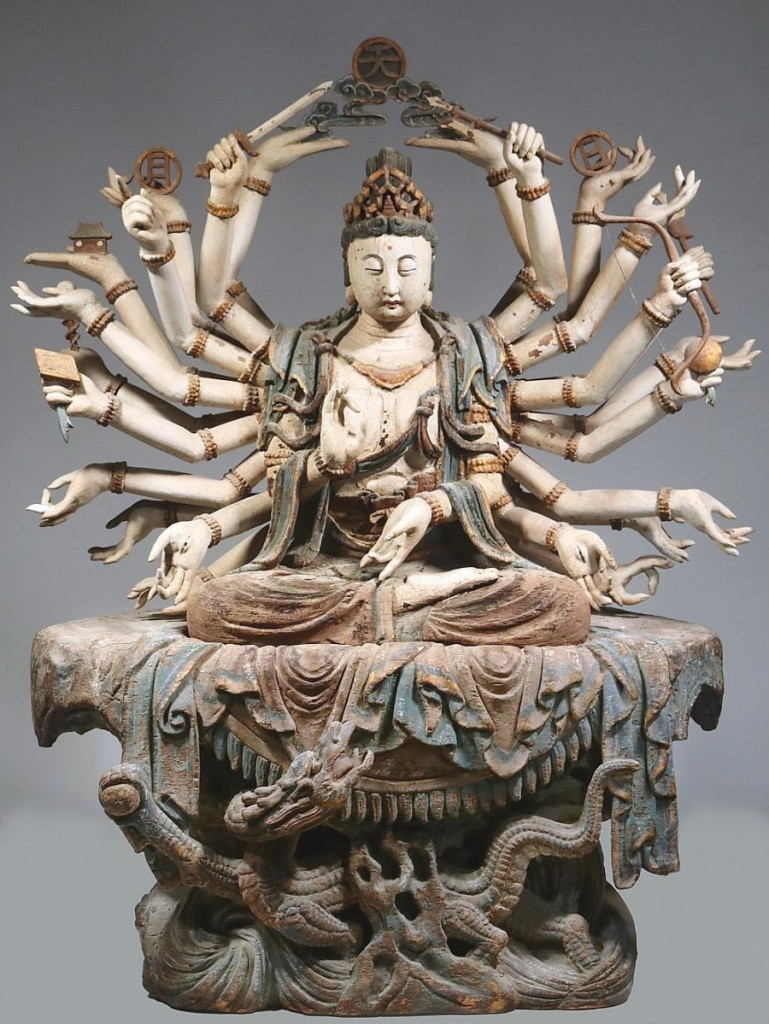 One of the two highest priced items in the sale, finishing at $84,000 was a carved and painted figure of Guanyin, 1450-1495, made of bai and camphor wood. It had glass, onyx and pearl detailing. The figure, more than 30 inches tall, had 26 arms, with each hand holding a different symbol or attribute.
