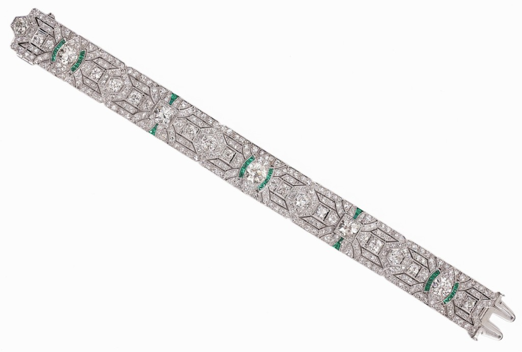Rich with old European cut diamonds, this flexible link lady's Art Deco diamond bracelet jumped to $20,650 from a $12/15,000 expectation.
