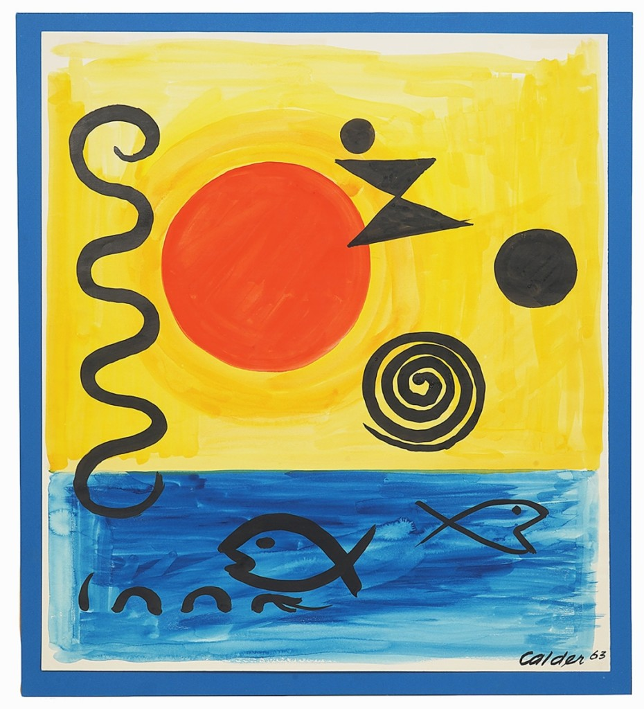 """This gouache on paper by Alexander Calder (1898-1976) titled """"In Mid-Ocean"""" was the sale's top lot, handily outperforming its $25/35,000 estimate to finish at $97,650."""
