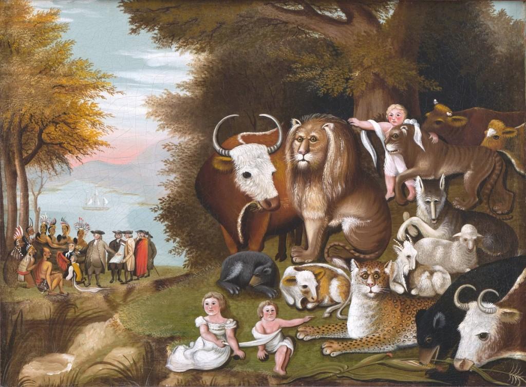 """Peaceable Kingdom,"" Bucks County, Penn., 1832-34 Oil on canvas. Abby Aldrich Rockefeller Collection, gift of David Rockefeller."